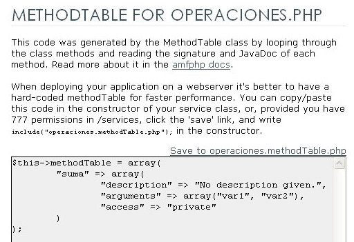 Method Table generada