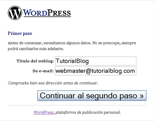 Registro WordPress